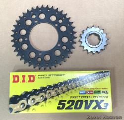 DID 520 VX3 Gold & Black X-Ring Chain + Front & Rear Sprocket Kit