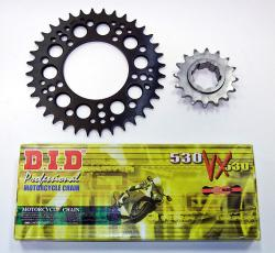 DID 530 VX Gold & Black X-Ring Chain + Front & Rear Sprocket Kit