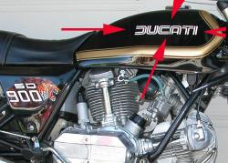 Sticker: SD 900 DUCATI - dualine - Darmah Tank [white, gold or black]