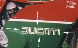 Sticker: large DUCATI dual line from MHR [WHITE or BLACK]