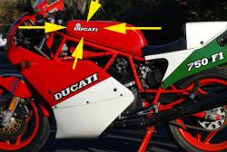 Sticker Set: 750F1 Gas Tank DUCATI w/Elephant Logo