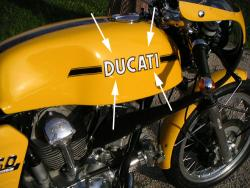 Sticker: 750 SPORT - Tank - DUCATI [choose WHITE or RED]