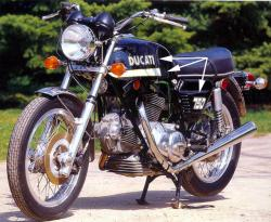 Sticker kit: 1972-73 750GT Stripes, '750' + 'Ducati'
