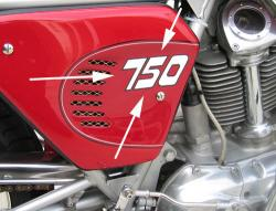 Sticker: 1972-3 750GT Sidecover '750' no outline